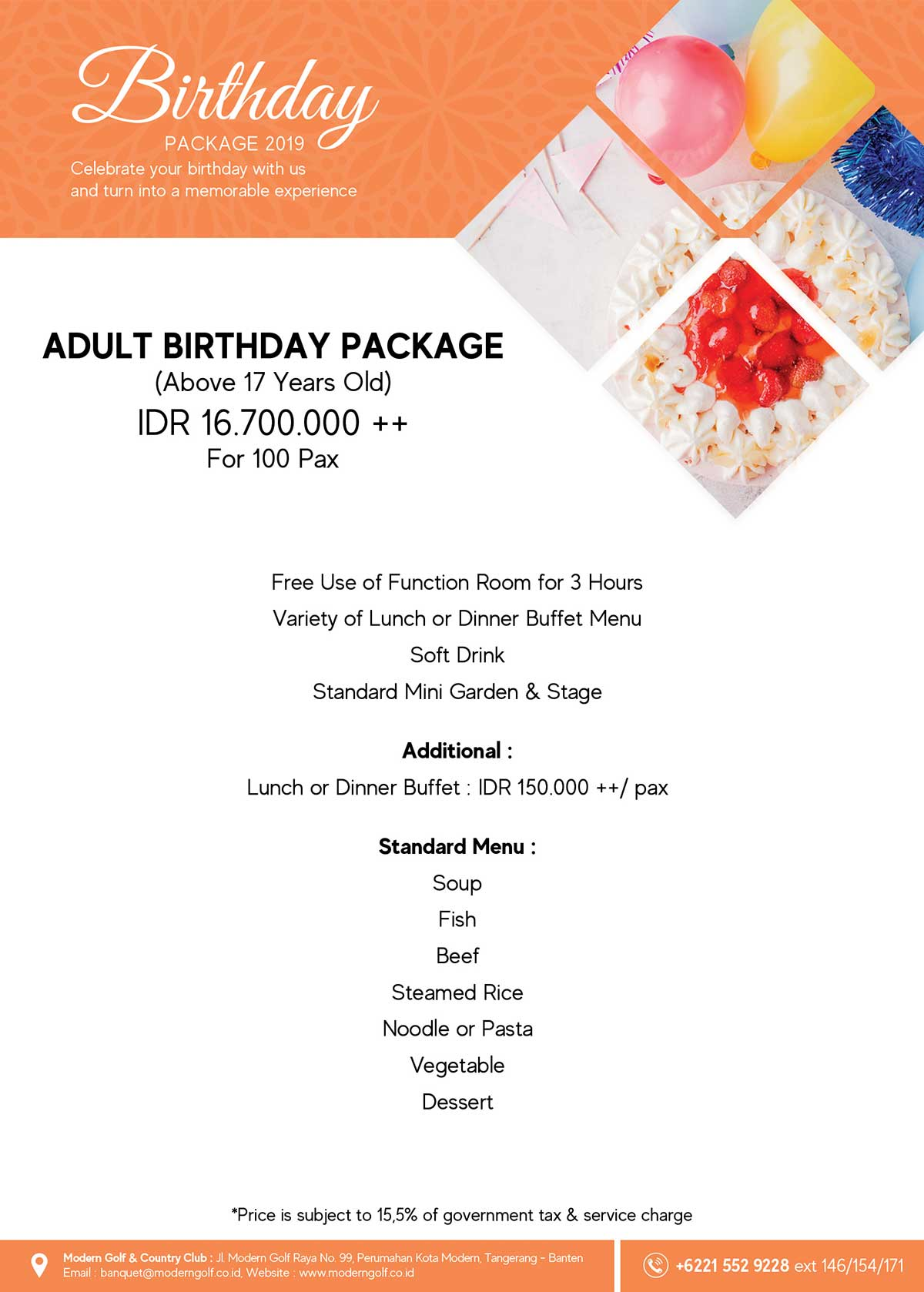 Birthday Adult Package